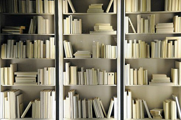 All White Bookshelf